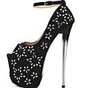 cheap Women's Boots-Women's Shoes Synthetics Fall & Winter Basic Pump Heels Stiletto Heel Peep Toe Rhinestone / Buckle Black / Silver / Wedding