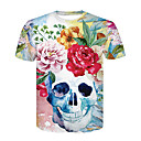 cheap Career Uniforms-Men's Club Basic / Street chic T-shirt - Floral / Color Block / Skull Print Round Neck / Short Sleeve