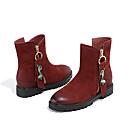 ieftine Ghete de Damă-Pentru femei Pantofi Piele Iarnă Confortabili Cizme Toc Jos Negru / Roșu Vin