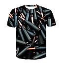 abordables Equipo de protección-Hombre Básico / Chic de Calle Discoteca Estampado Camiseta, Escote Redondo Bloques / Manga Corta
