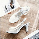 povoljno Ženske sandale-Žene PU Ljeto Udobne cipele Sandale Stiletto potpetica Otvoreno toe Crn / Bijela / Zelen