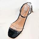 ieftine Adidași de Damă-Pentru femei PU Vară Pantof cu Berete Sandale Toc Îndesat Alb / Negru