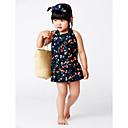 זול שמלות לבנות-בגדי ים ללא שרוולים דפוס דפוס חוף בנות פעוטות / חמוד
