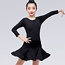 billige Danseklær til barn-Latin Dans Kjoler Jente Trening / Ytelse Melkefiber Sateng Sløyfe / Ruchiing Langermet Naturlig Kjole
