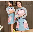 ieftine Set Îmbrăcăminte De Familie-Copii Mama și cu mine Floral Manșon Jumate Rochie
