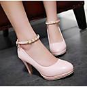 preiswerte Hochzeitsschuhe für Damen-Damen Schuhe PU Frühling Komfort / Pumps High Heels Stöckelabsatz Weiß / Schwarz / Rosa
