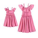 povoljno Obiteljski komplet odjeće-Mama i mene Aktivan / slatko Hlače - Jednobojni Naborano Blushing Pink / Iznad koljena / Praznik / Dijete koje je tek prohodalo
