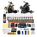 cheap Tattoo Transfers & Supplies-Tattoo Machine Starter Kit - 2 pcs Tattoo Machines with 28 x 5 ml tattoo inks, Professional LCD power supply Case Not Included 2 alloy machine liner & shader