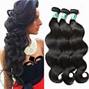 halpa Aitohiusperuukit-Brasilialainen Runsaat laineet Virgin-hius Hiukset kutoo 3 pakettia Hiukset kutoo Pehmeä / Musta Musta Hiukset Extensions