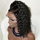 ieftine Peruci Dantelă Sintetice-Lănțișoare frontale din sintetice Buclat Partea laterală Păr Sintetic Cu părul copiilor / Rezistent la Căldură / Linia naturală de păr Negru Perucă Pentru femei Scurt Față din Dantelă Maro Închis