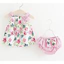 tanie Sukienki dla niemowląt-Dziecko Dla dziewczynek Aktywny Kwiaty Nadruk Bez rękawów Bawełna Komplet odzieży / Brzdąc