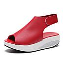 ieftine Sandale de Damă-Pentru femei Pantofi PU Vară Confortabili / Noutăți Sandale Plimbare Platformă Pantofi vârf deschis Bej / Rosu / Maro Închis