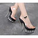 ieftine Sandale de Damă-Pentru femei Pantofi PU Vară Confortabili Sandale Toc Stilat Transparent