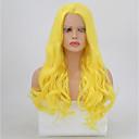 זול פיאות סינטטיות ללא כיסוי-סינתטי תחרה פאות הקדמי גלי בלונד תספורת שכבות שיער סינטטי שיער טבעי בלונד פאה בגדי ריקוד נשים ארוך חזית תחרה צהוב / Yes