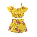 ieftine Seturi Îmbrăcăminte Fete-Copii Fete Floarea Soarelui Imprimeu Fără manșon Set Îmbrăcăminte