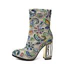 رخيصةأون أحزية بوت نسائية-للمرأة أحذية المواد التركيبية خريف & شتاء مريح / جزمات موضة كتب كعب متوسط جزمات متوسطة فوشيا / فاتح أخضر