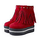 cheap Fitness Gear & Accessories-Women's Novelty Shoes Suede Fall & Winter Fashion Boots Boots Wedge Heel Round Toe Mid-Calf Boots Rivet / Tassel Black / Wine