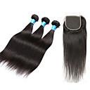 billige Hundepleiemateriell-3 pakker med lukking Peruviansk hår / Vietnamesisk hår Rett Ubehandlet hår Hår Veft Med Lukker 8-28 tommers Naturlig Hårvever med menneskehår 4X4 Lukking Beste kvalitet / 100% Jomfru Hairextensions
