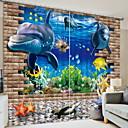 رخيصةأون ملصقات الحائط-ستائر ثلاثية الأبعاد غرفة النوم هندسي البوليستر مطبوع / تعتيم