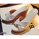 hesapli Kadın Sandaletleri-Kadın's Sandaletler Dolgu Topuk Nappa Leather Rahat Yaz Beyaz / Siyah