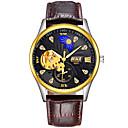 ieftine Cercei-BOSCK Bărbați ceas mecanic Mecanism automat Piele Maro 30 m Rezistent la Apă Gravură scobită Iluminat Analog Lux Schelet - Alb Negru Auriu