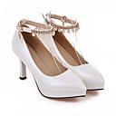 preiswerte Hochzeit Schals-Damen Schuhe PU Sommer Mary Jane High Heels Blockabsatz Spitze Zehe Imitationsperle Weiß / Schwarz / Rosa / Party & Festivität