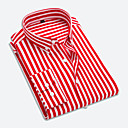 cheap Boys' Shoes-Men's Cotton Shirt - Striped / Long Sleeve