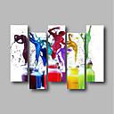 זול הדפסים-ציור שמן צבוע-Hang מצויר ביד - מופשט / אנשים עכשווי / מודרני בַּד