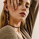 hesapli Moda Bileklikler-Kadın's Klipsli Küpeler Asılı Küpeler Uzun Bayan Tropik Zarif Küpeler Mücevher Altın / Gümüş Uyumluluk Tatil Festival 1 çift