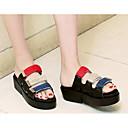 povoljno Ženske cipele s petom-Žene Cipele PU Ljeto Udobne cipele Papuče i japanke Ravna potpetica Obala / Crn / Zelen