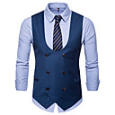 cheap Pins and Brooches-Men's Daily / Work Business / Basic Fall / Winter Plus Size Regular Vest, Solid Colored V Neck Sleeveless Cotton / Polyester Black / Camel / Gray XXL / XXXL / 4XL / Business Casual / Slim