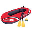 זול תוספות שיער אומברה-2 אנשים סט סירה מתנפחת עם משאבת אוויר ידנית, משוטים צרפתיים PVC קיפול נייד דיג / שייט / ספורט מים 196*114 cm