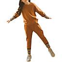 tanie Zestawy ubrań dla dziewczynek-Dzieci Dla dziewczynek Aktywny / Moda miejska Wyjściowe Prążki / Kolorowy blok Nadruk Długi rękaw Bawełna Komplet odzieży