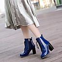 hesapli Kadın Botları-Kadın's Çizmeler İngiliz Stili Ekose Ayakkabı Kalın Topuk Sivri Uçlu PU Bootiler / Bilek Botları Moda Botlar / Botinler Sonbahar Kış Siyah / Kırmzı / Mavi