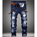 billige Taljetaske-Herre Basale Plusstørrelser Bomuld Tynd Jeans Bukser - Ensfarvet Blå
