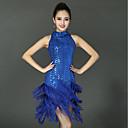 رخيصةأون ملابس رقص لاتيني-الرقص اللاتيني الفساتين للمرأة أداء سباندكس شرابة / مفصل منفصل بدون كم فستان