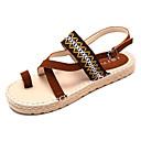 ieftine Sandale de Damă-Pentru femei PU Vară Confortabili Sandale Toc Drept Vârf rotund Maro / Migdală