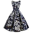 preiswerte Modische Armbänder-Damen Retro Swing Kleid - Druck, Blumen Knielang