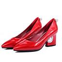رخيصةأون أحذية نسائية-نسائي PU الربيع مريح كعوب كعب متوسط أسود / أحمر / زهري / مناسب للبس اليومي
