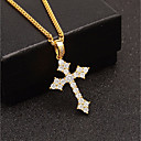 cheap Historical & Vintage Costumes-Men's Cubic Zirconia Stylish Cuban Link Pendant Necklace / Chain Necklace - Cross, Faith European, Trendy, Hip-Hop Cool Gold, Silver 60 cm Necklace Jewelry 1pc For Gift, Street