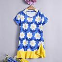 tanie Zestawy ubrań dla dziewczynek-Dzieci / Brzdąc Dla dziewczynek Podstawowy / Moda miejska Codzienny / Wyjściowe Kwiaty Krótki rękaw Do kolan / Nad kolano Bawełna Sukienka Niebieski 100