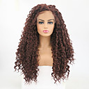 cheap Synthetic Lace Wigs-Synthetic Lace Front Wig Curly Side Part Synthetic Hair Heat Resistant Brown Wig Women's Long Lace Front Dark Auburn / Yes