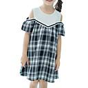 זול חולצות לבנות-שמלה עד הברך שרוולים קצרים טלאים משובץ דמקה שחור ולבן בסיסי בנות ילדים / כותנה