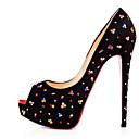رخيصةأون أحذية نسائية-للمرأة أحذية فرو ظبي صيف مريح / ارتفاع كلاسيكي كعوب كعب ستيلتو أسود