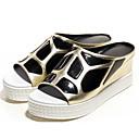 povoljno Ženske sandale-Žene Cipele Mekana koža Ljeto Udobne cipele Sandale Wedge Heel Zlato / Pink