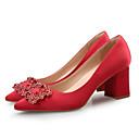זול נעלי עקב לנשים-בגדי ריקוד נשים נעליים משי אביב קיץ בלרינה בייסיק עקבים עקב עבה בוהן מחודדת ריינסטון אדום / כחול / חום בהיר / חתונה