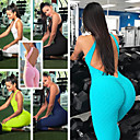 cheap Wedding Wraps-Women's Open Back Jumpsuit - Green, Blue, Pink Sports Bubble Tights / Leggings Yoga, Exercise & Fitness, Gym Activewear Quick Dry, Breathable, Sweat Out High Elasticity Removable Padding