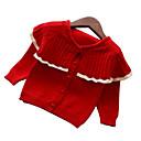 ieftine Set Îmbrăcăminte Bebeluși-Copii Fete De Bază Crăciun / Zilnic Mată Manșon Lung Regular Poliester Sfeter & Cardigan Roșu-aprins 100