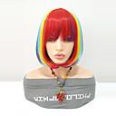 Χαμηλού Κόστους Ψεύτικες Βλεφαρίδες-Συνθετικές Περούκες Ίσιο Κούρεμα καρέ Συνθετικά μαλλιά Middle Length Γυναικεία / Μαλλιά μπαλαγιάζ / Με τα Μπουμπούκια Κόκκινο Περούκα Γυναικεία Μεσαίο Μήκος Χωρίς κάλυμμα Ουράνιο Τόξο