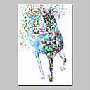 olcso Olajfestmények-Hang festett olajfestmény Kézzel festett - Rajzfilm Pop-művészet Modern Tartalmazza belső keret / Nyújtott vászon